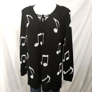 Hot Topic Musical Note Black Sweater 2X